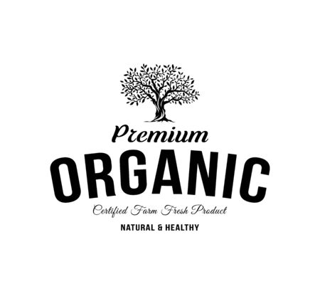 Organic natural and healthy farm fresh food retro emblem. Vintage olive tree logo isolated on white background. Premium quality certified vegetarian product old fashion badge logotype illustration.