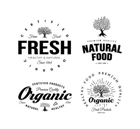 Organic natural and healthy farm fresh food retro emblem set. Vintage olive tree logo isolated on white background. Premium quality certified vegetarian product old fashion badge logotype illustration. Vettoriali