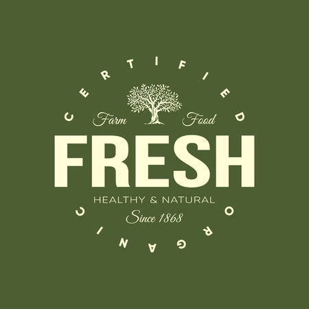 Organic natural and healthy farm fresh food retro emblem. Vintage olive tree logo isolated on green background. Premium quality certified vegetarian product old fashion badge logotype illustration.