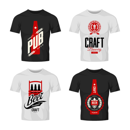 Modern craft beer drink vector sign for bar, pub, brewery or brewhouse isolated on t-shirt mock up.