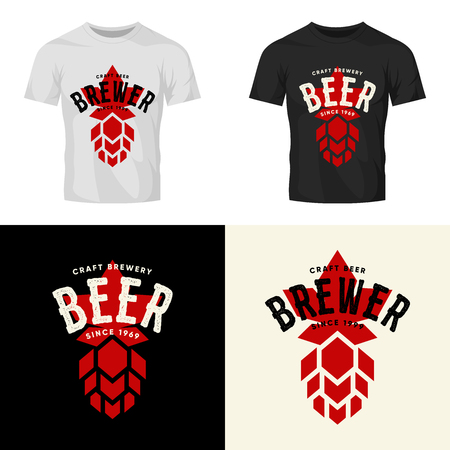 Modern craft beer drink vector isolated logo sign for bar, pub, brewery or brewhouse 免版税图像 - 102025052