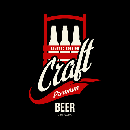 Modern craft beer drink isolated vector logo sign for brewery, pub, brewhouse or bar. Illustration