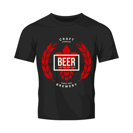 Modern craft beer drink vector logo sign for brewery, pub or bar isolated on dark t-shirt mock up. Illustration