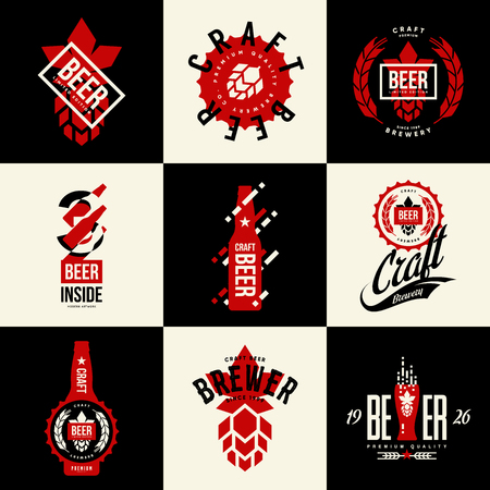 Botella de cerveza aislada moderna. Signo de logotipo vectorial para bar, pub, cervecería o sala de cocción. Ilustración de impresión de camiseta de logotipo de lúpulo y tapa de botella de calidad superior. Conjunto de diseño de signo de emblema de moda de festival de elaboración de cerveza.