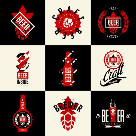 Modern isolated beer bottle. Vector logo sign for bar, pub, brewery or brewhouse. Premium quality bottle cap and hop logotype tee print illustration. Brewing fest fashion emblem sign design set. Illustration