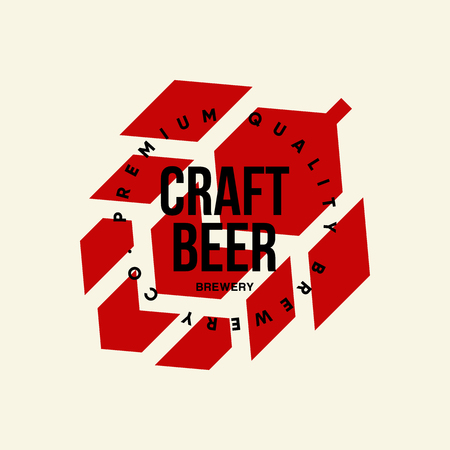 Modern craft beer drink vector logo sign for bar, pub or brewery, isolated on light. Illusztráció