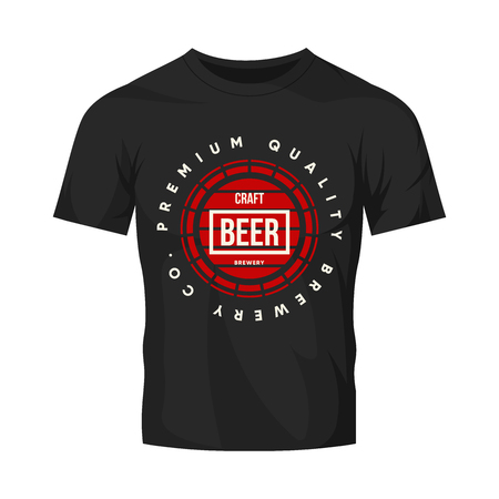 Modern craft beer drink vector logo sign for bar, pub or tavern, isolated on white t-shirt mock up