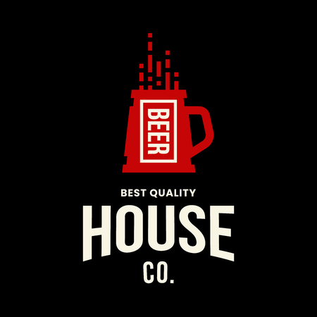 Modern craft beer drink vector logo sign for bar, pub, store, brewhouse or brewery isolated on black background. Premium quality mug logotype illustration. Brewing fest fashion t-shirt badge design.