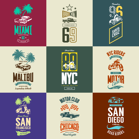 Vintage motorcycle, moped, muscle, roadster and classic car vector t-shirt logo isolated set.