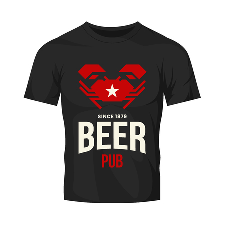 Modern craft beer drink vector logo sign for bar, pub, store, brewhouse or brewery isolated on black t-shirt mock up.