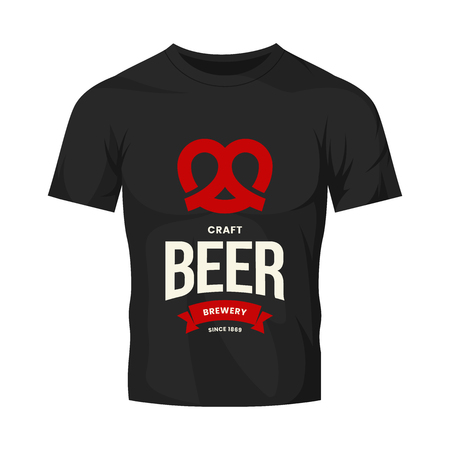 Modern craft beer drink vector logo sign for bar, pub, store, brewhouse or brewery isolated on black t-shirt mock up. Premium quality pretzel logotype illustration. Brewing fest fashion badge design.