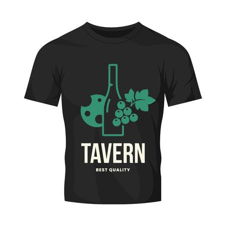 Modernes Weinvektorlogozeichen für Taverne, Restaurant, Haus, Geschäft, Geschäft, Club und Keller einzeln auf schwarzem T-Shirt Mock-up. Hochwertige Illustration des Weingut-Logos. Designvorlage für Modeabzeichen. Logo