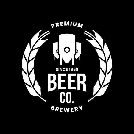 Modern craft beer drink vector logo sign for bar, pub, store, shop, brewhouse, brewery isolated on black background. Premium round logotype emblem illustration. Brewing fest t-shirt badge design.