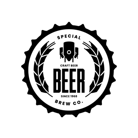 Modern craft beer drink vector logo sign for bar, pub, store, shop, brewhouse, brewery isolated on white background. Premium quality logotype emblem illustration. Brewing fashion t-shirt badge design.