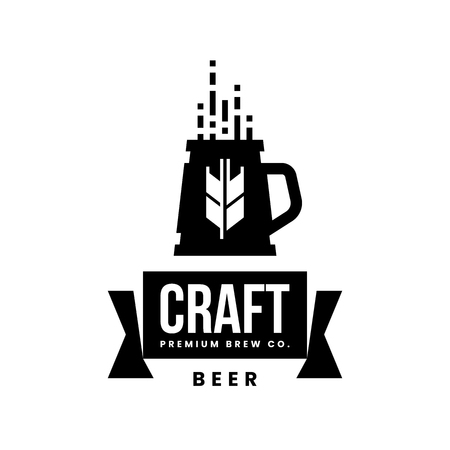 Modern craft beer drink vector logo sign for bar, pub, store, brewhouse or brewery isolated on white background. Premium quality mug logotype illustration. Brewing fest fashion t-shirt badge design.