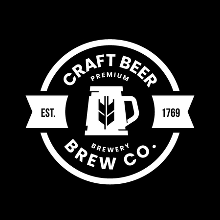 Modern round craft beer drink vector logo sign for bar, pub, store, brewhouse or brewery isolated on black background. Premium quality mug logotype illustration. Brewing fest t-shirt badge design.