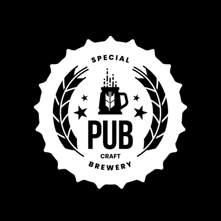 Modern craft beer drink vector logo sign for bar, pub, store, brewhouse or brewery isolated on black background. Premium quality mug logotype illustration. Brewing fest round t-shirt badge design.