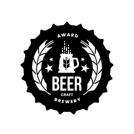Modern craft beer drink vector logo sign for bar, pub, store, brewhouse or brewery isolated on white background. Premium quality mug logotype illustration. Brewing fest round t-shirt badge design.