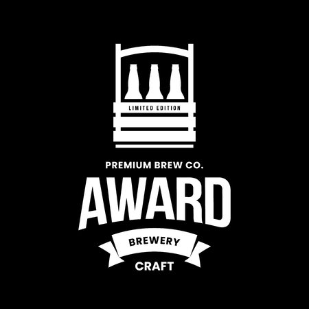 Modern craft beer drink vector logo sign for bar, pub, store, brewhouse or brewery isolated on black background. Premium quality bottle box logotype illustration. Brewing emblem t-shirt badge design.