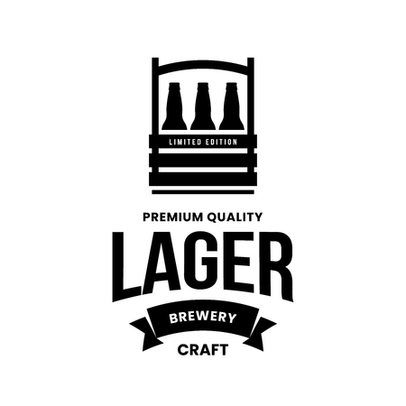Modern craft beer drink vector logo sign for bar, pub, store, brewhouse or brewery isolated on white background. Premium quality bottle box logotype illustration. Brewing emblem t-shirt badge design.