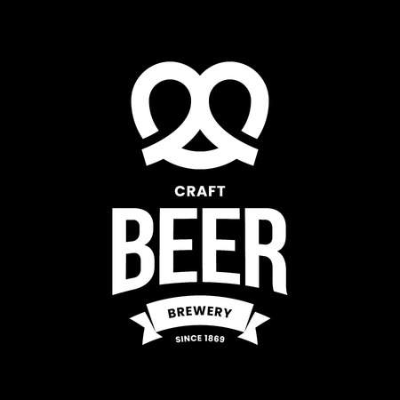 Modern craft beer drink vector logo sign for bar, pub, store, brewhouse or brewery isolated on black background. Premium quality pretzel logotype illustration. Brewing fest emblem t-shirt badge design. Illustration