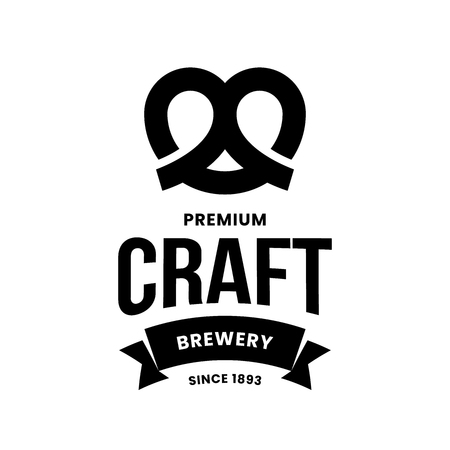 Modern craft beer drink vector logo sign for bar, pub, store, brewhouse or brewery isolated on white background. Premium quality pretzel logotype illustration. Brewing fest emblem t-shirt badge design.