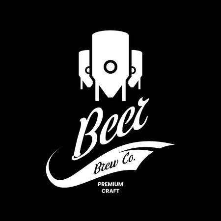 Modern craft beer drink vector logo sign for bar, pub, store, shop, brewhouse, brewery isolated on black background. Premium manufacture logotype emblem illustration. Brewing fest t-shirt badge design. Illustration