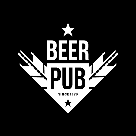 Modern craft beer drink vector logo sign for bar, pub, store, brewhouse or brewery isolated on black background. Premium quality ear arrow logotype illustration. Brewing emblem t-shirt badge design. Illustration
