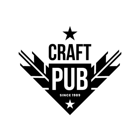 Modern craft beer drink vector logo sign for bar, pub, store, brewhouse or brewery isolated on white background. Premium quality ear arrow logotype illustration. Brewing emblem t-shirt badge design.