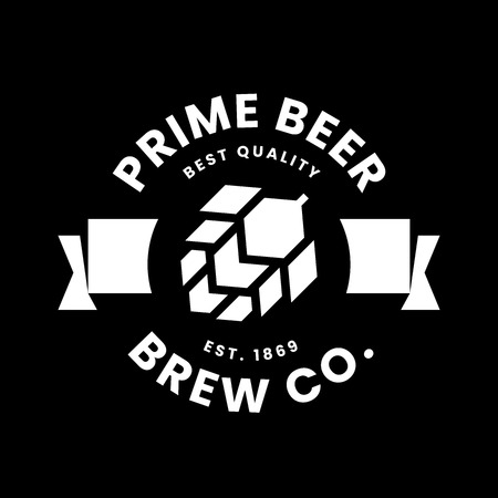 Modern round craft beer drink vector logo sign for bar, pub, store, brewhouse or brewery isolated on black background. Premium quality hop logotype illustration. Brewing fest t-shirt badge design. Illustration