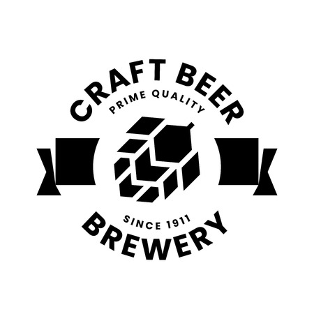 Modern round craft beer drink vector logo sign for bar, pub, store, brewhouse or brewery isolated on white background. Premium quality hop logotype illustration. Brewing fest t-shirt badge design.