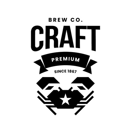Modern craft beer drink vector logo sign for bar, pub, store, brewhouse or brewery isolated on white background. Premium quality crab logotype illustration. Brewing fest fashion t-shirt badge design.