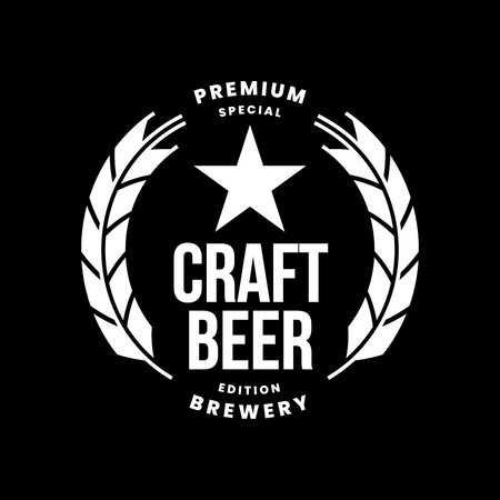 Modern craft beer drink vector logo sign for bar, pub, store, brewhouse or brewery isolated on black background. Premium quality logotype emblem illustration. Brewing fest fashion t-shirt badge design. Illustration