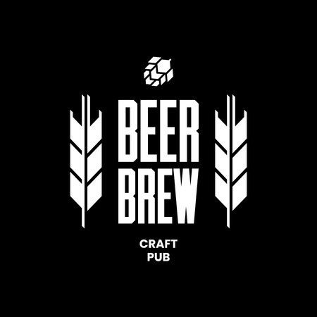 Modern craft beer drink vector logo sign for bar, pub, store, brewhouse or brewery isolated on black background. Premium quality emblem logotype illustration. Brewing fest fashion t-shirt badge design.