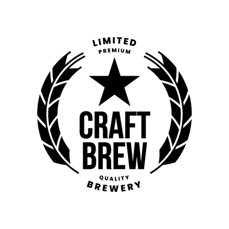 Modern craft beer drink vector logo sign for bar, pub, store, brewhouse or brewery isolated on white background. Premium quality logotype emblem illustration. Brewing fest fashion t-shirt badge design.