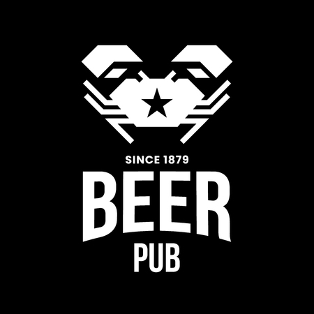 Modern craft beer drink vector logo sign for bar, pub, store, brewhouse or brewery isolated on black background. Premium quality crab logotype illustration. Brewing fest fashion t-shirt badge design.