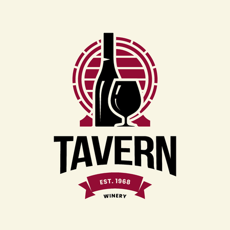 Modern wine vector logo sign for tavern, restaurant, house, shop, store, club and cellar isolated on light background. Premium quality vinery logotype illustration. Fashion brand badge design template. Banque d'images - 120438782