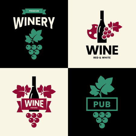 Modern wine vector isolated logo collection for tavern, restaurant, house, shop, store, club and cellar. Premium quality vinery logotype illustration set. Fashion brand badge design template bundle. Archivio Fotografico - 120438784