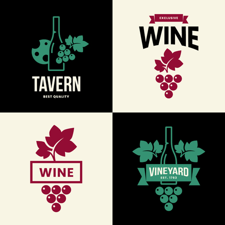Modern wine vector isolated logo collection for tavern, restaurant, house, shop, store, club and cellar. Premium quality vinery logotype illustration set. Fashion brand badge design template bundle.