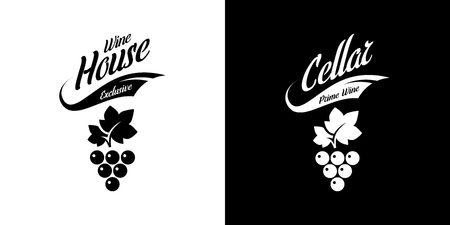 Modern wine vector isolated logo sign for pub, tavern, restaurant, house, shop, store, club and cellar. Premium quality vinery logotype illustration set. Fashion brand badge design template bundle.