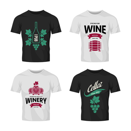 Modern wine vector logo collection for tavern, restaurant, house, shop, store, club and cellar on t-shirt mock up. Premium quality vinery logotype illustration set. Brand badge design template bundle.