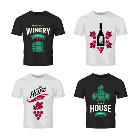Modern wine vector logo collection for tavern, restaurant, house, shop, store, club and cellar on t-shirt mock up. Premium quality vinery logotype illustration set. Brand badge design template bundle. Archivio Fotografico - 120438817