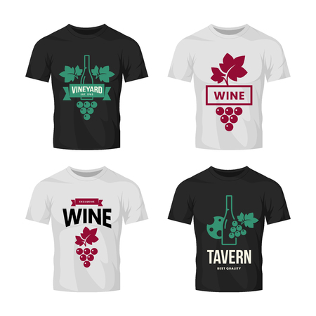 Modern wine vector logo collection for tavern, restaurant, shop, store, club and cellar on t-shirt mock up. Premium quality vinery logotype illustration set. Fashion brand badge design template bundle. Banque d'images - 120438818