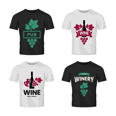 Modern wine vector logo collection for tavern, restaurant, shop, store, club and cellar on t-shirt mock up. Premium quality vinery logotype illustration set. Fashion brand badge design template bundle.