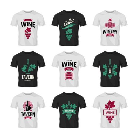 Modern wine vector logo collection for tavern, restaurant, shop, store, club and cellar on t-shirt mock up. Premium quality vinery logotype illustration set. Fashion brand badge design template bundle.