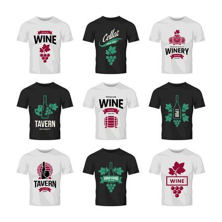 Modern wine vector logo collection for tavern, restaurant, shop, store, club and cellar on t-shirt mock up. Premium quality vinery logotype illustration set. Fashion brand badge design template bundle. Archivio Fotografico - 120438823