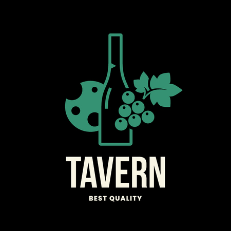 Modern wine vector logo sign for tavern, restaurant, house, shop, store, club and cellar isolated on black background. Premium quality vinery logotype illustration. Fashion brand badge design template. Archivio Fotografico - 126498806