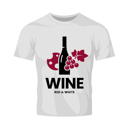 Modern wine vector logo sign for tavern, restaurant, house, shop, store, club and cellar isolated on white t-shirt mock up. Premium quality vinery logotype illustration. Fashion badge design template. Illustration