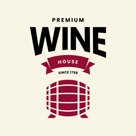 Modern wine vector logo sign for tavern, restaurant, house, shop, store, club and cellar isolated on light background. Premium quality vinery logotype illustration. Fashion brand badge design template. Ilustração