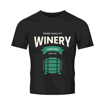 Modern wine vector logo sign for tavern, restaurant, house, shop, store, club and cellar isolated on black t-shirt mock up. Premium quality vinery logotype illustration. Fashion badge design template.